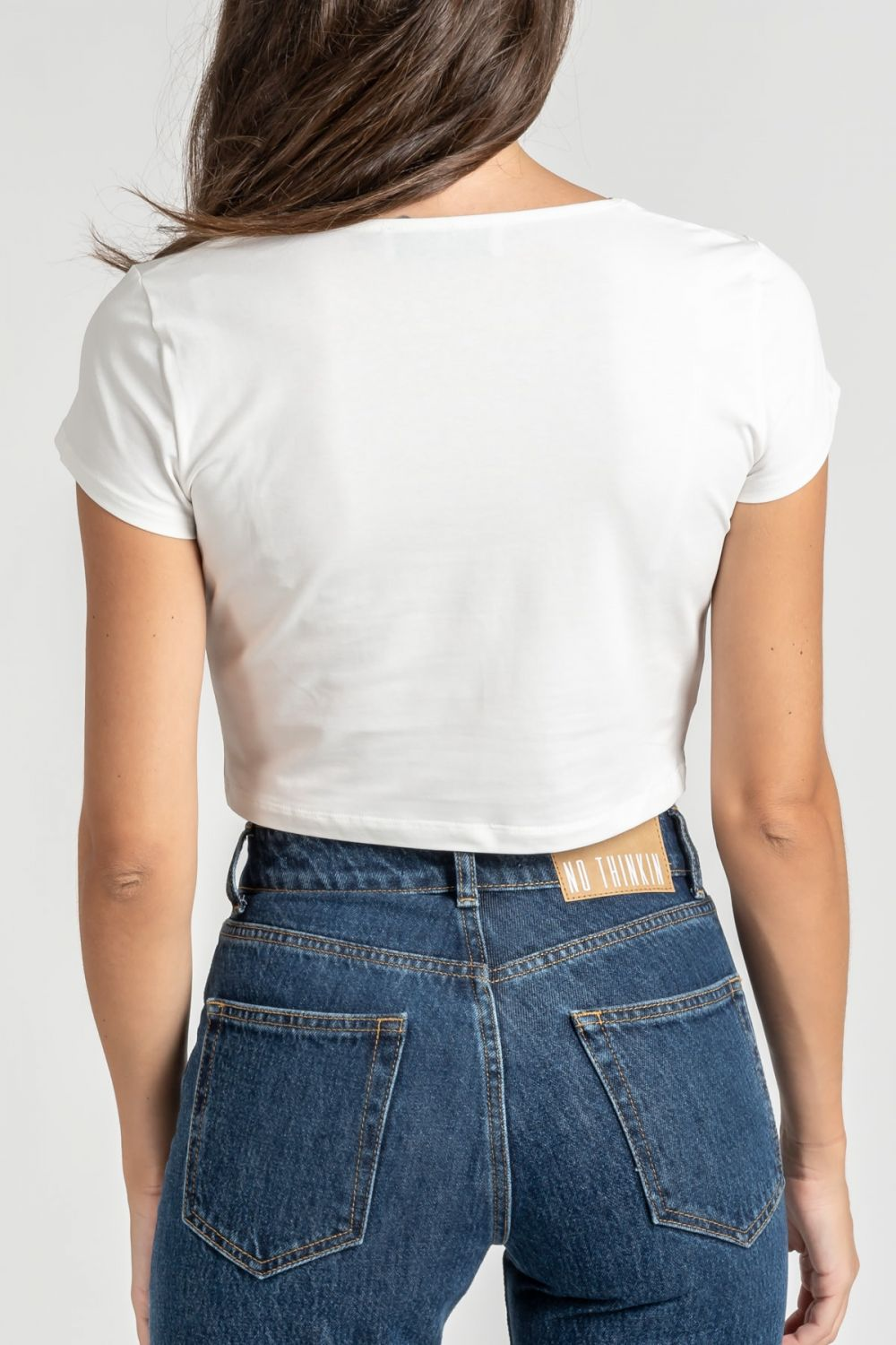 Cropped cut out white top