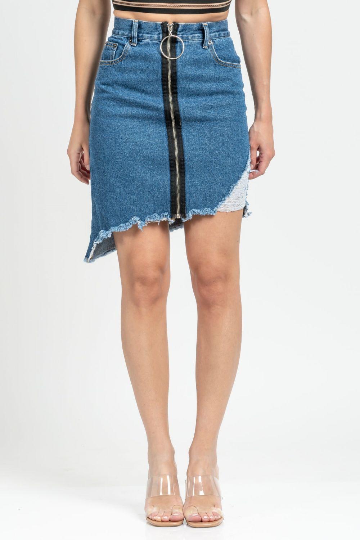 Angela μπλε μέτριο σκούρο τζιν φούστα