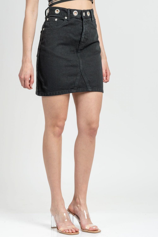 Vivian black jean skirt
