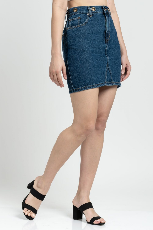 Vivian μπλε σκούρο τζιν φούστα