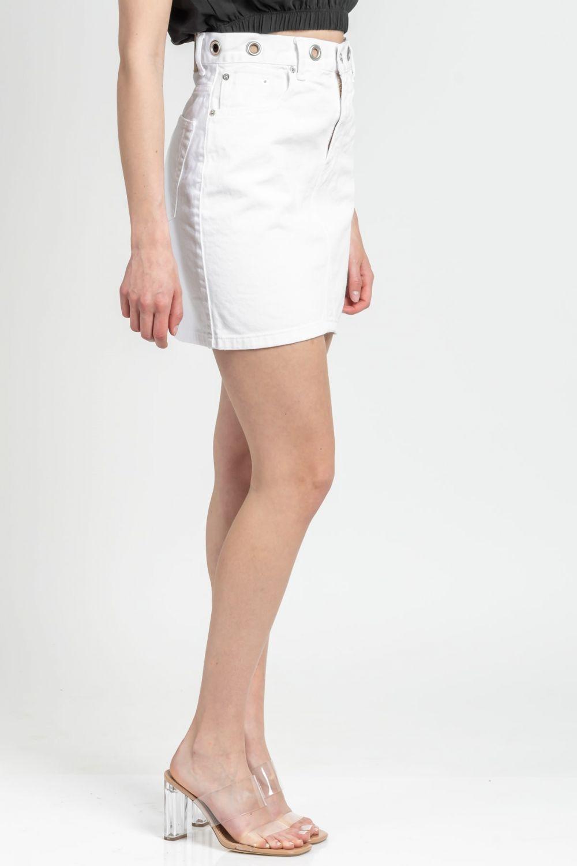 Vivian white jean skirt