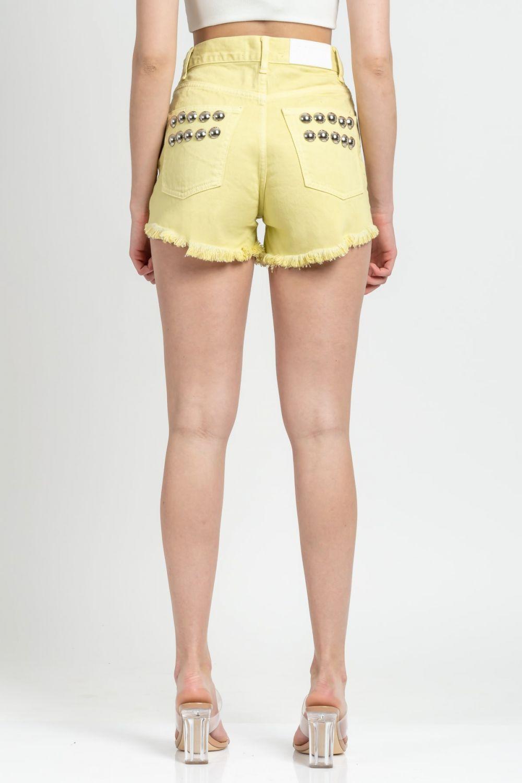 Cher 04 studs κίτρινο τζιν σορτσάκι