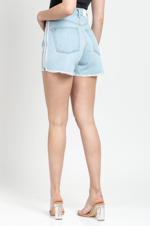 Mia Zip light blue jean shorts