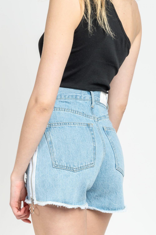 Mia Ripped Zip light blue jean shorts
