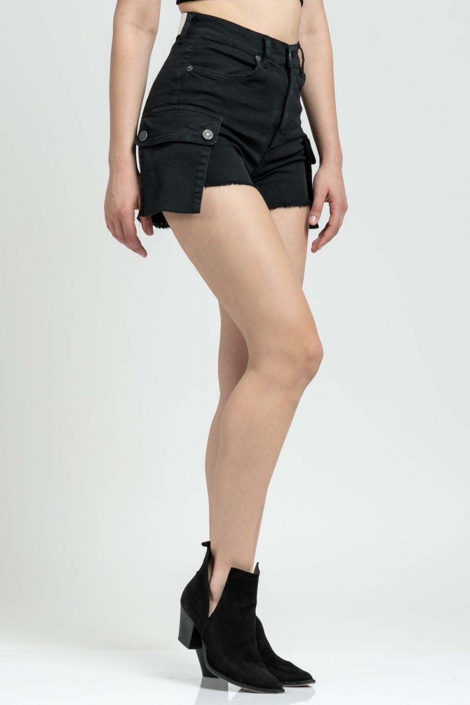 Lara black jean shorts