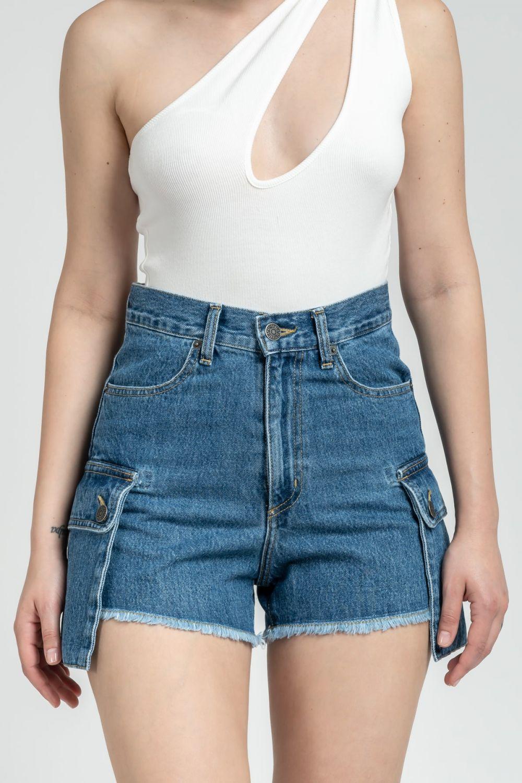 Lara medium dark blue jean shorts