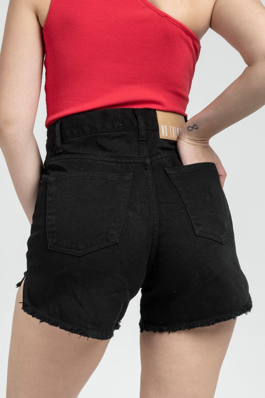 Donna black jean shorts