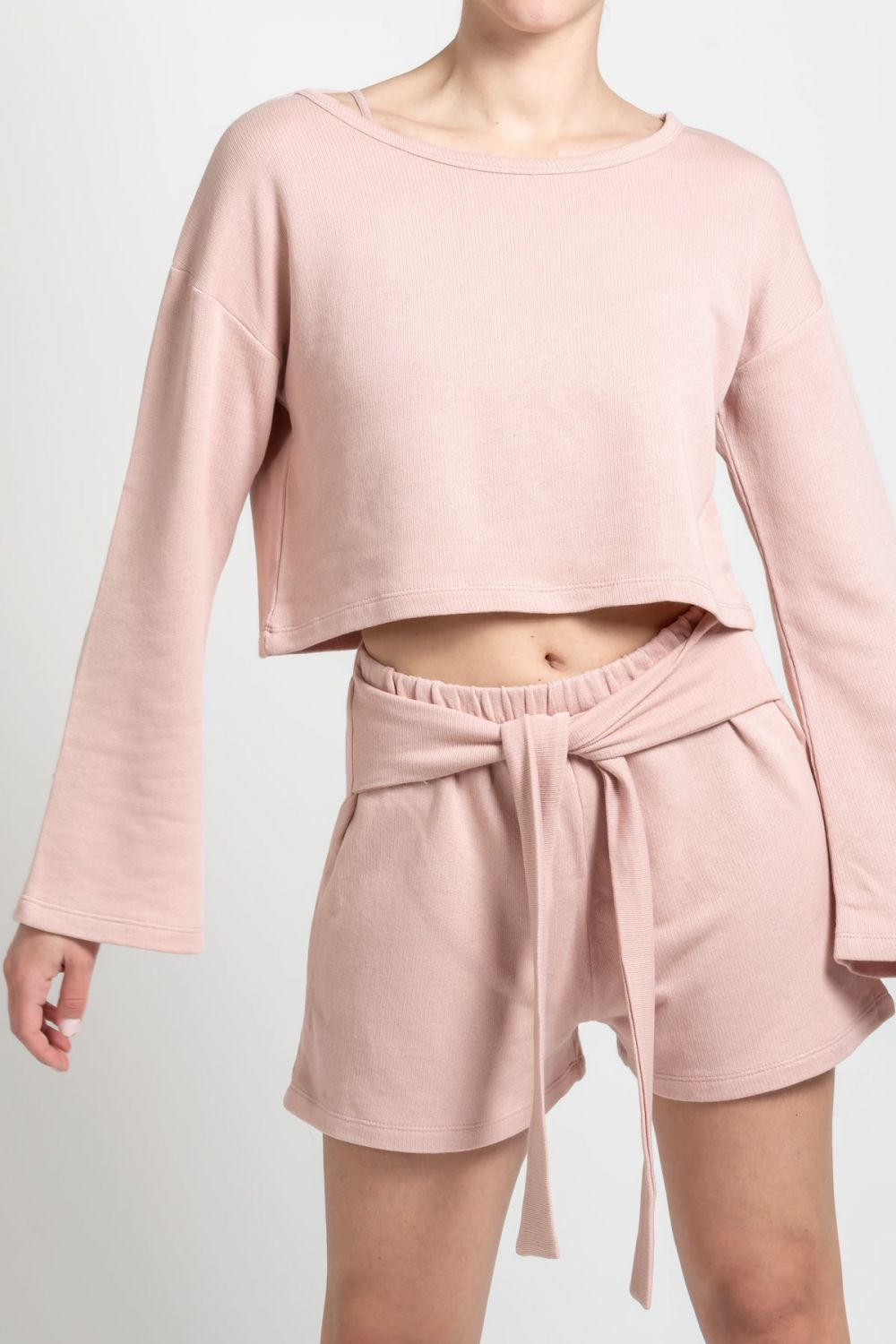 Wrap Front baby pink shorts