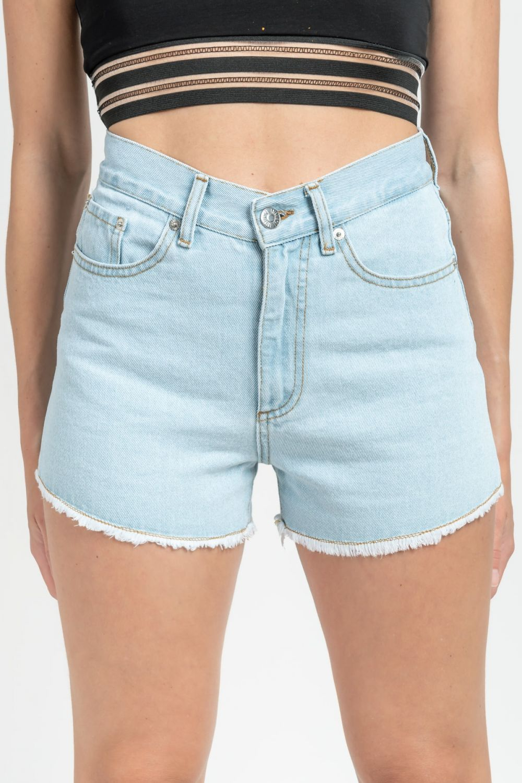 Tyra light blue jean shorts