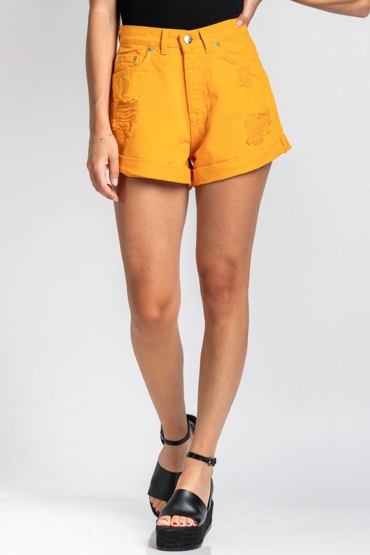 Corey orange  jean shorts
