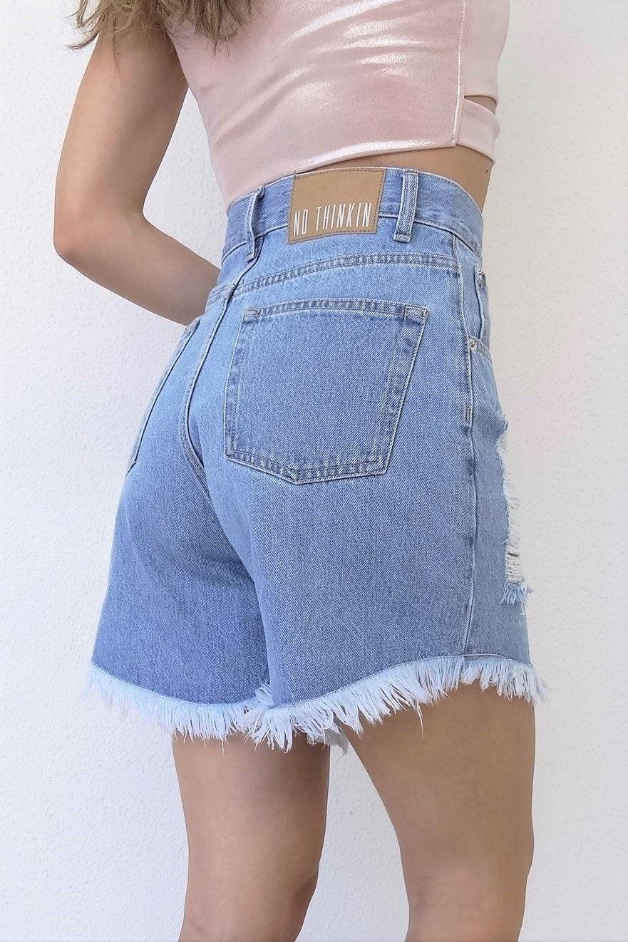 Selena medium light blue long jean shorts