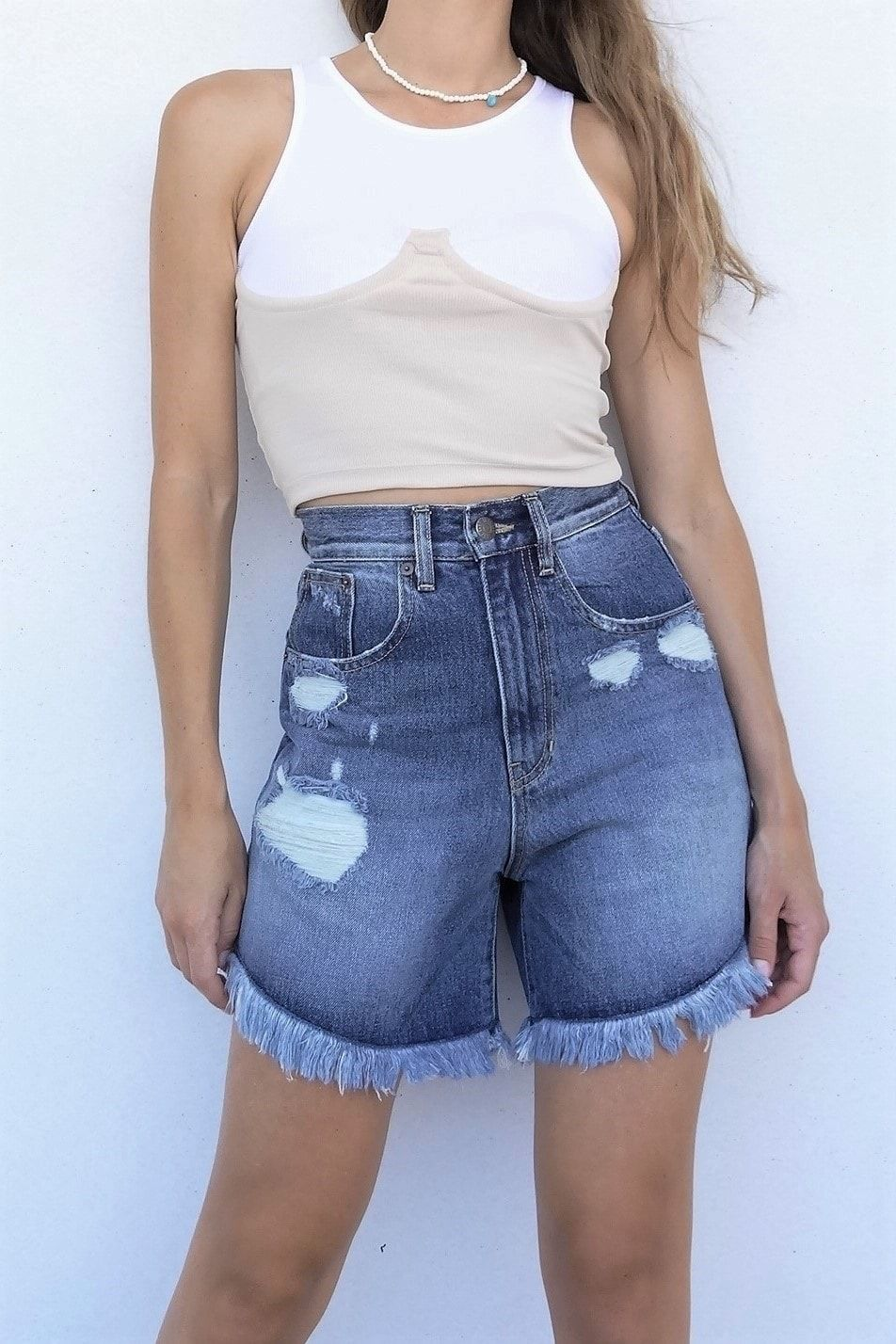 Selena dark blue long jean shorts