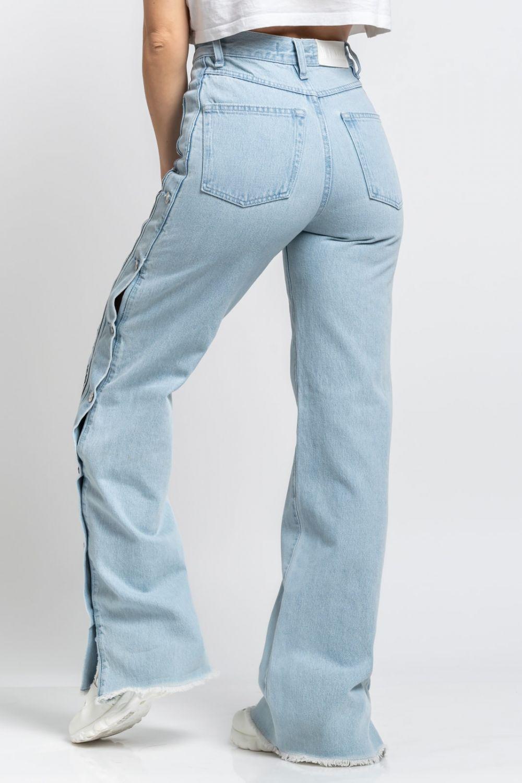 Bella Logo wide leg jeans light blue
