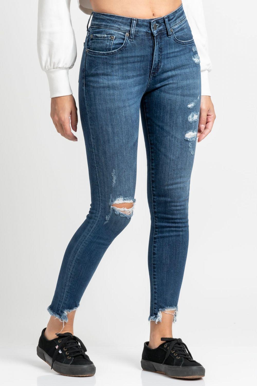 Brianna Ripped skinny jeans medium dark blue