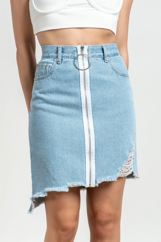 Angela μπλε μέτριο ανοιχτο τζιν φούστα