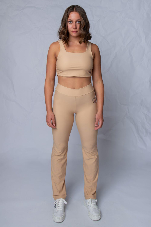 Flare leggings κολάν μπεζ