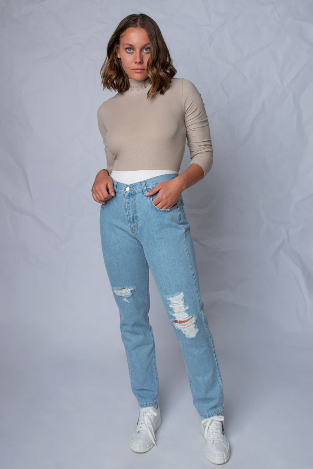 U can't touch this high rise jeans light blue