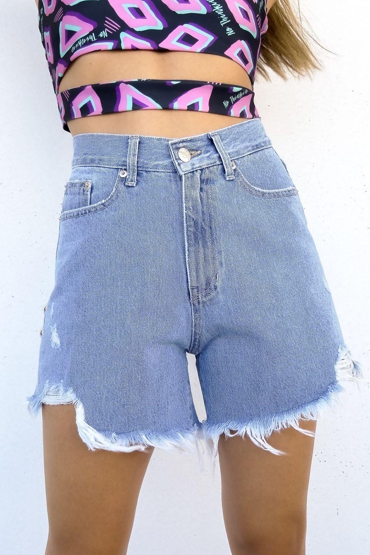 Fran studs medium light blue jean shorts