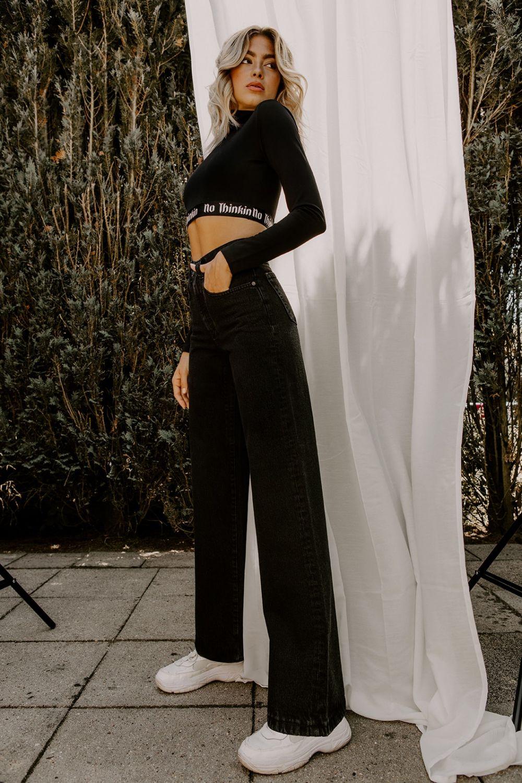 Selena wide leg jeans black