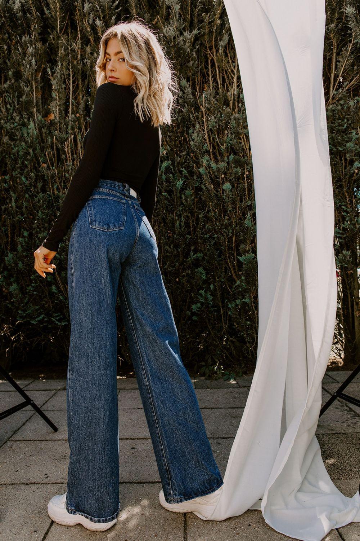 Selena wide leg jeans dark blue