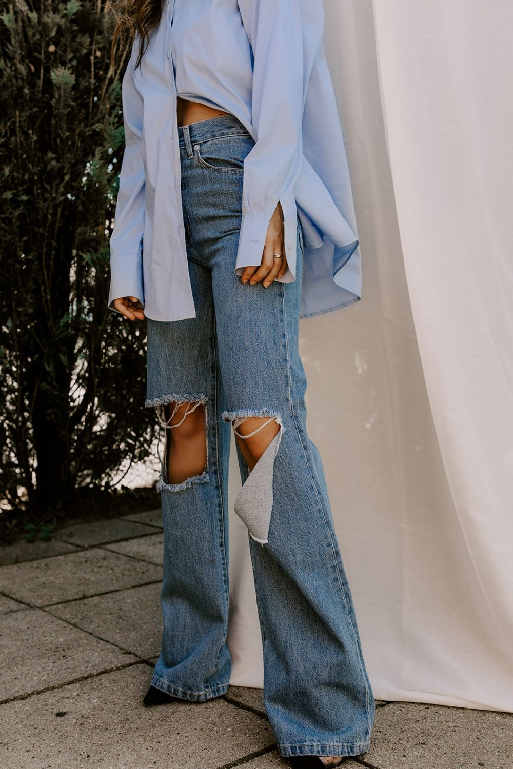 Bella Knee Ripped wide leg jeans medium light blue