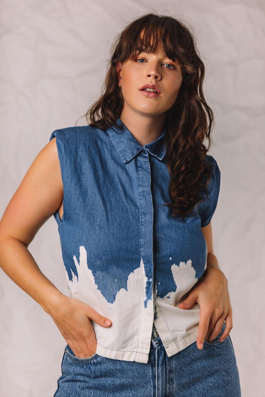 The Badass αμάνικο πουκάμισο με βάτες δίχρωμο