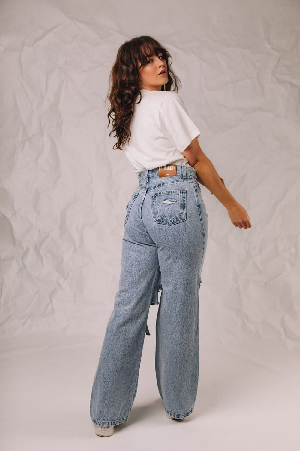 Bella Knee Ripped wide leg jeans stonewash blue
