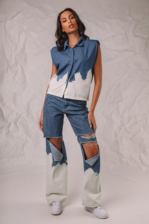 Bella Knee Ripped wide leg τζιν Contrast μπλε