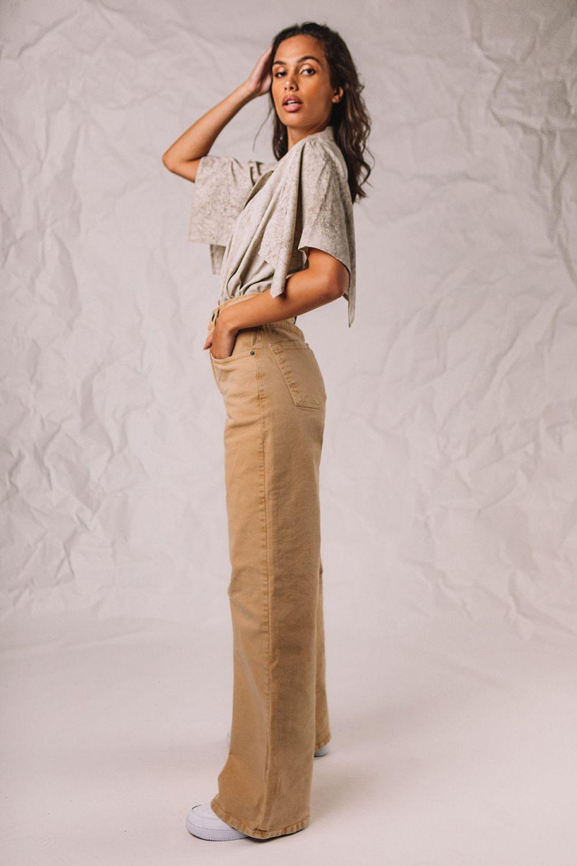 Selena wide leg jeans beige